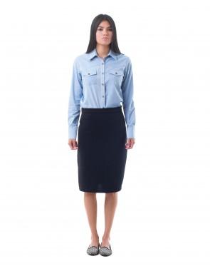 Falda recta midi con abertura al costado